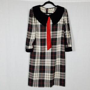 VINTAGE/ Lanz Plaid Midi Dress USA made